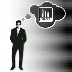 businessman thinks on report