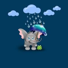 Elephant with frog under umbrella