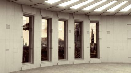 Futuristic interior and scifi city