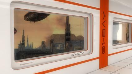 Futuristic window and scifi city