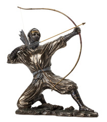 bronze statue of  ninja with bow on the white background