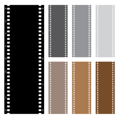 Illustration pack of film strips isolated on white background