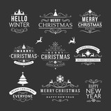 Christmas decoration set of design elements and holidays wishes poster