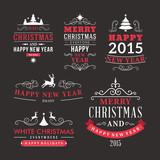 Fototapety Christmas decoration set of design elements and holidays wishes