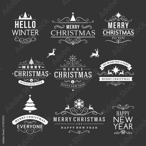 Christmas decoration set of design elements and holidays wishes