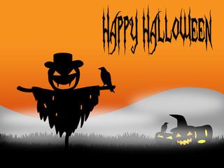 Halloween scarecrow with pumpkins