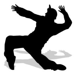 silhouette di ballerino di hip hop