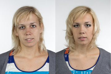 Portrait of woman before and after make up