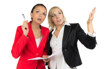 Two business woman discussing something
