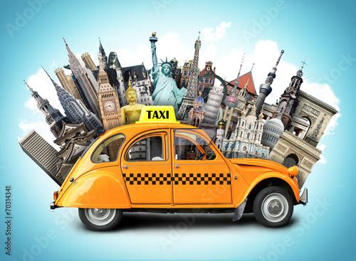 Retro taxi na tle punkty zwrotni, podróż