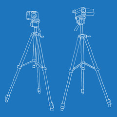 camcorder and photo camera on a tripod. vector background