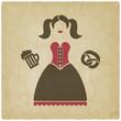 Oktoberfest girl with beer mug and pretzel - 70314709
