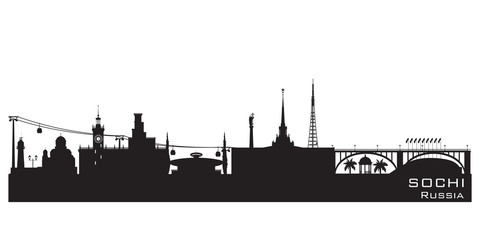 Sochi Russia city skyline Detailed silhouette