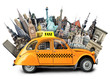 canvas print picture - Retro taxi on the background of landmarks, travel
