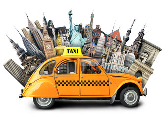 Retro taxi on the background of landmarks, travel
