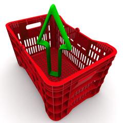 Пластиковый ящик для фруктов и стрелка, направленная вверх