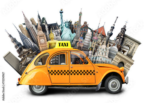canvas print picture Retro taxi on the background of landmarks, travel