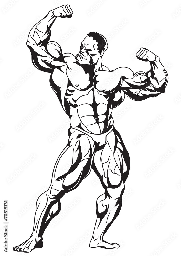 Muscular Bodybuilder Wall Sticker | Wall Stickers