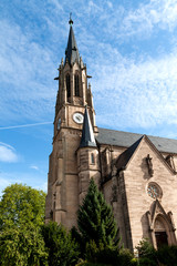 Protestant church with a clock on the tower