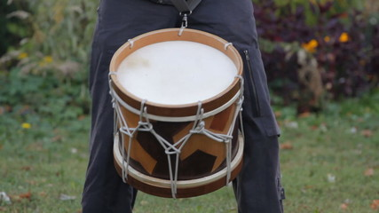 Musician playing on the drum