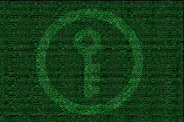 encrypted digital key with green binary code