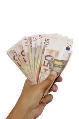 Mano sosteniendo billetes de cincuenta euros