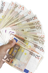 Abanico hecho de billetes de cincuenta euros