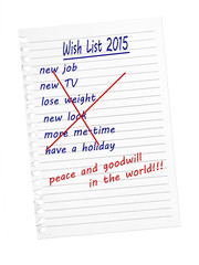 Wish list, new year. Peace. White background.