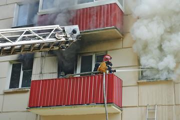 fireman extinguish a fire