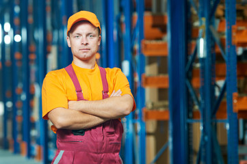 warehouse worker in front storehouse