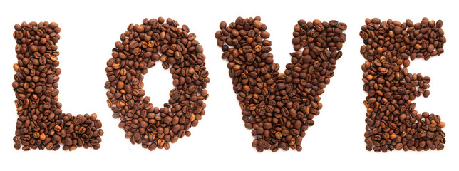 Inscription love of roasted coffee beans isolated