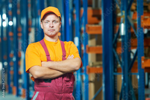 canvas print picture warehouse worker in front storehouse