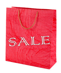 Sale concept. Color shopping bag, isolated on white