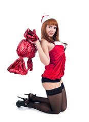 Beautiful and sexy christmas woman