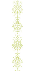 Green textile damask flower vertical border seamless pattern