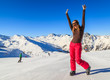Young skier woman