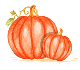 Watercolor orange pumpkins