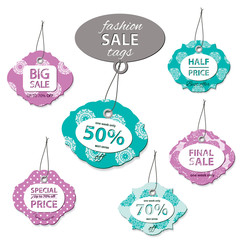 Fashion sale label tags. Bright colors.