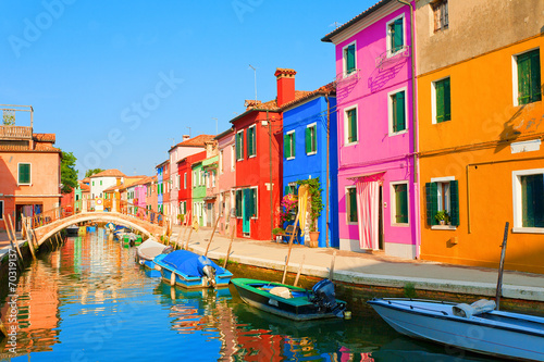 Papiers peints Venise Colorful street in Burano, near Venice, Italy