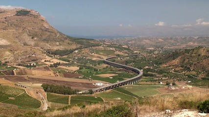 Bird's-eye view of Sicily central countryside.