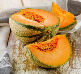 Fresh cantaloupe melon.