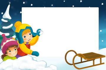 Christmas frame - illustration for the children