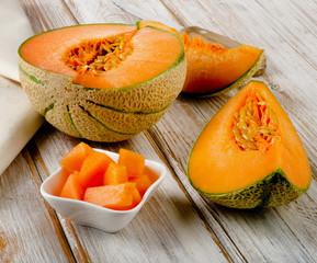 Ripe cantaloupe melon