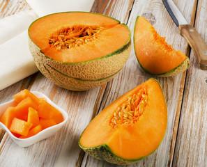 Fresh cantaloupe melon. Selective focus