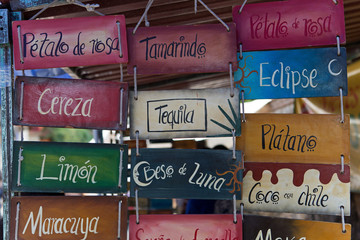 street vendor sign in Mexico