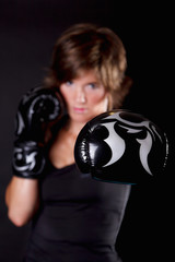 Close-up portrait of boxing gloves