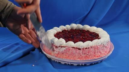 cut cherry cake