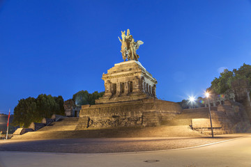 Evening view on Deutsches Eck monument