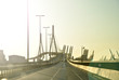Leinwanddruck Bild - Köhlbrandbrücke Hamburg in der Abendsonne