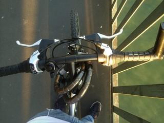 Blick von oben auf Fahrrad